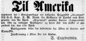 The original newspaper ad announcing the Argonaut's 1870 Voyage from Oslo (Kristiana) Norway to Quebec City. Source: http://www.norwayheritage.com/