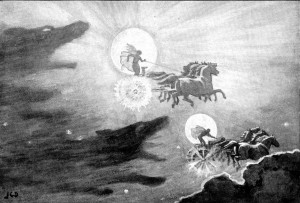"""The Wolves Pursuing Sol and Mani"" by John Charles Dollman (1909). Public Domain via Wikimedia Commons."